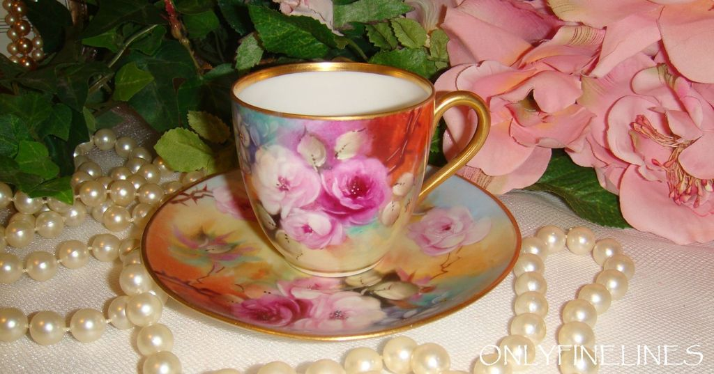 Vintage - Limoges France - - Cup - Saucer - Hand Painted - Romantic ROSES - Forget-Me-Nots - Artist SIGNED - Only Fine Lines