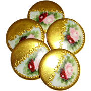 5 Hand Painted Porcelain Buttons Studs Pink Roses Coin Gold Accents