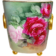Vintage French Limoges Cache Pot Vase Hand Painted Romantic Roses