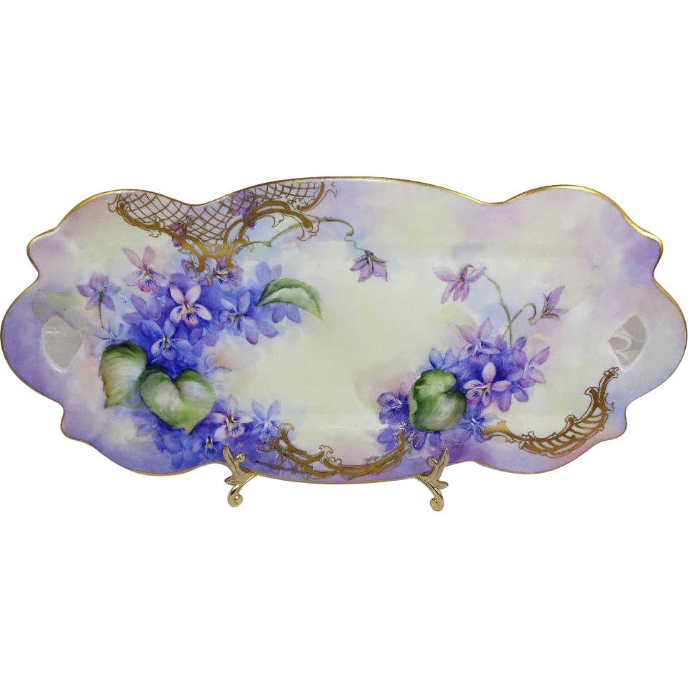 "Antique French Limoges 13"" Tray Hand Painted Blue Amethyst Violets"