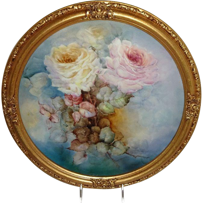 "Vintage 16"" Framed French JPL Limoges Charger Hand Painted Roses"