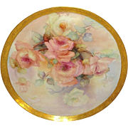 "16"" Antique French Limoges France Charger Tray Hand Painted Roses Artist Signed Dated 03"