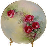 Vintage French Haviland Limoges Plate Hand Painted Burgundy Red Roses Artist Signed