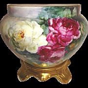 Magnificent Antique Austria Jardiniere Vase Hand Painted Roses Artist Signed Circa 1908