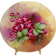 French Vintage Plate with Hand Painted Pink Roses Artist Signed