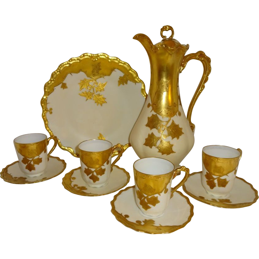 French Limoges France Vintage Chocolate Set Coco Pot with Matching Cups Saucers and Plate