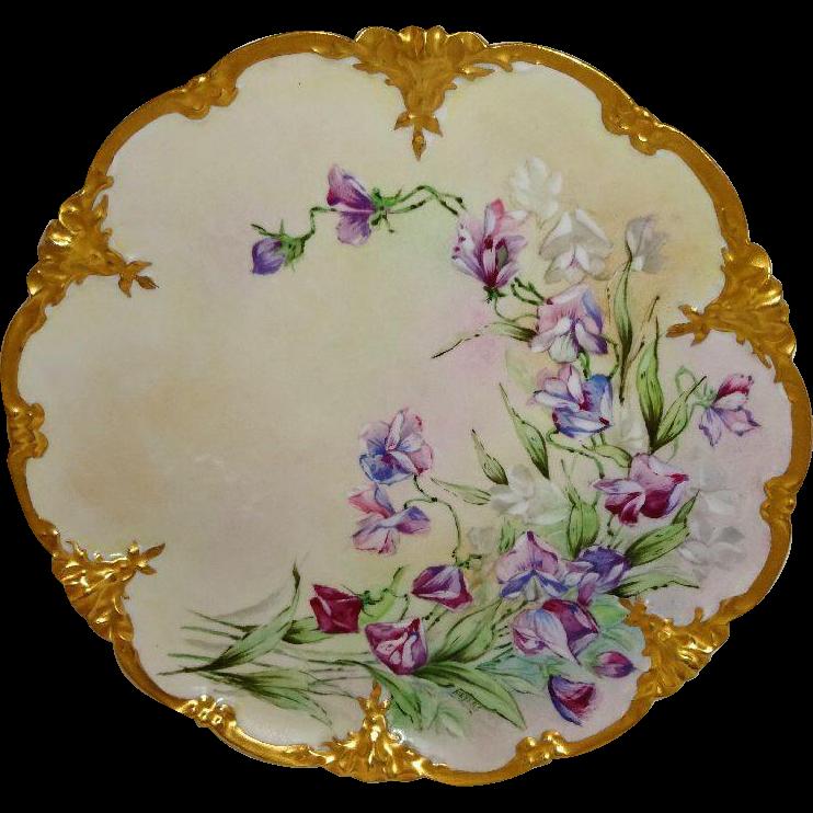 Vintage French Limoges Plate Hand Painted Violets Artist SIGNED