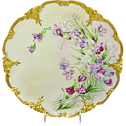 GDA Limoges Charger Plate Hand Painted Sweet Peas Artist Signed