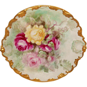French Antique Limoges Charger Hand Painted Roses Artist Signed Dated 1906