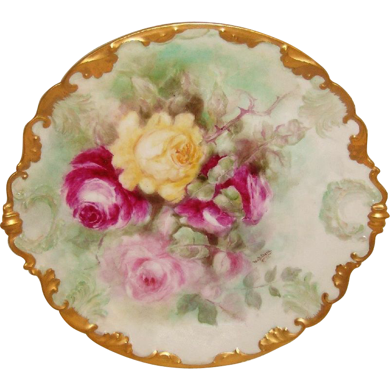 Antique Limoges Charger Hand Painted Roses Signed Dated 1906