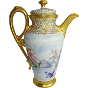 Antique Limoges Teapot Hand Painted Cherubs Butterflies Jeweled