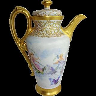 Antique Limoges Teapot Hand Painted Cherubs Butterflies Jeweled