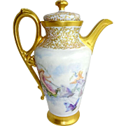 Antique Limoges Tea Pot Hand Painted Butterflies Cherubs Jeweled