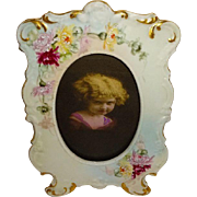 Hand Painted Antique French Limoges Picture Frame with Chrysanthemums