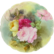 Haviland Limoges France Plate Beautiful Hand Painted Roses