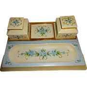 Antique French Limoges Desk Set with 4 Porcelain Corners Hand Painted Forget-Me-Not Blossoms