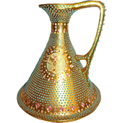 Nippon Gold Ewer Hand Decorated with Teal Jewels & Moriage