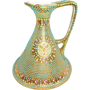 Nippon Gold Ewer Pitcher Hand Decorated Jewels Moriage