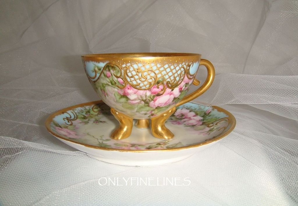 Gold Footed Cup - Saucer - Hand Painted - Romantic -Pink Roses - Ornate Gilded Design - Signed