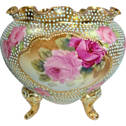 Vintage Nippon 3 Footed Jeweled Vase Jardiniere with Pink Roses