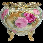 Vintage Nippon 3 Footed Jeweled Vase Jardiniere with Pink Roses