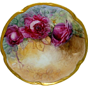 Antique Bavaria German Plate Hand Painted Ruby Red Roses
