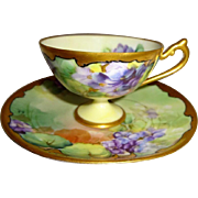 Antique Pickard Tea Cup Saucer Hand Painted Purple Violets Artist Signed Circa 1910
