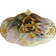 Stunning French Limoges Split Handle Tray with Hand Painted Daffodils