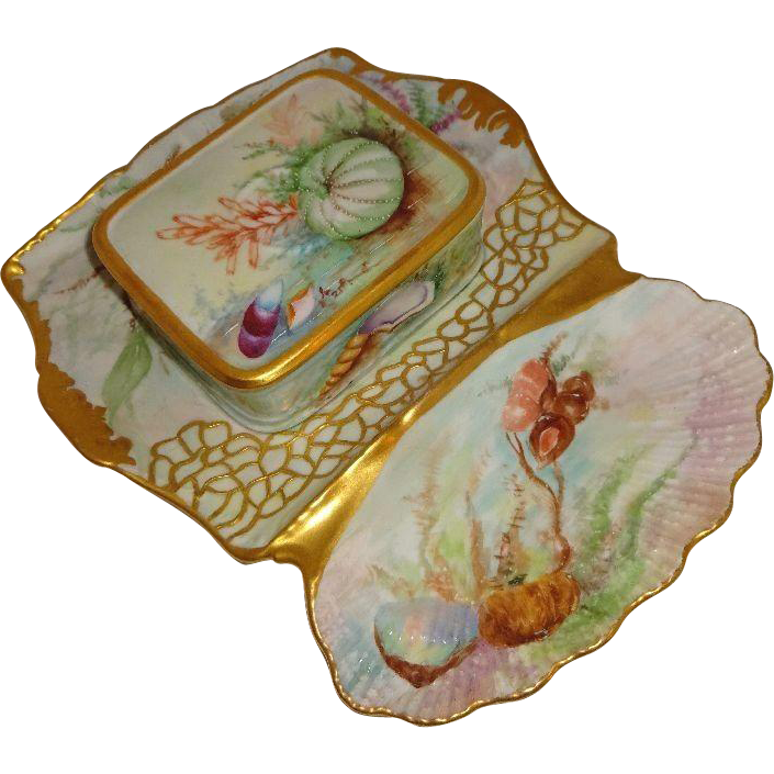 Antique French Limoges Sardine Set Hand Painted Tray Box Sea Life