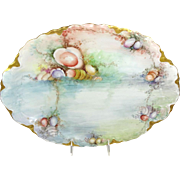 Antique German Bavaria Tray Platter with Hand Painted Sea Life
