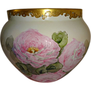 HUGE Magnificent Antique French Limoges Jardiniere Vase Hand Painted Pink Roses Blue Jewels