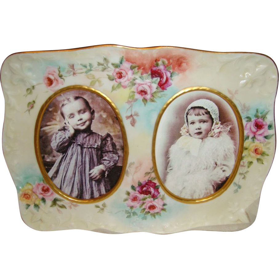 Antique French Limoges Picture Frame HAND PAINTED ROSES