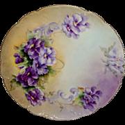 French Vintage Haviland Limoges Plate Hand Painted Purple Violets