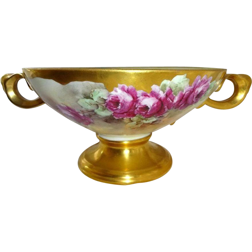 Large Double Handle Pedestal Compote Hand Painted Roses Signed by Thomas Peter Sophus Jorgensen