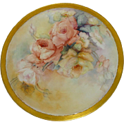 Antique French Limoges Tray Charger Hand Painted Roses Signed