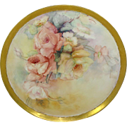 Antique French Limoges Charger Tray Plaque Hand Painted ROSES