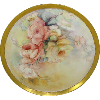 Antique French Limoges Charger Tray Plaque ROSES
