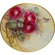 Vintage French Limoges Plate Hand Painted Pink Roses Artist Signed