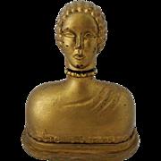 RARE Hattie Carnegie Gold Figural Perfume Bottle