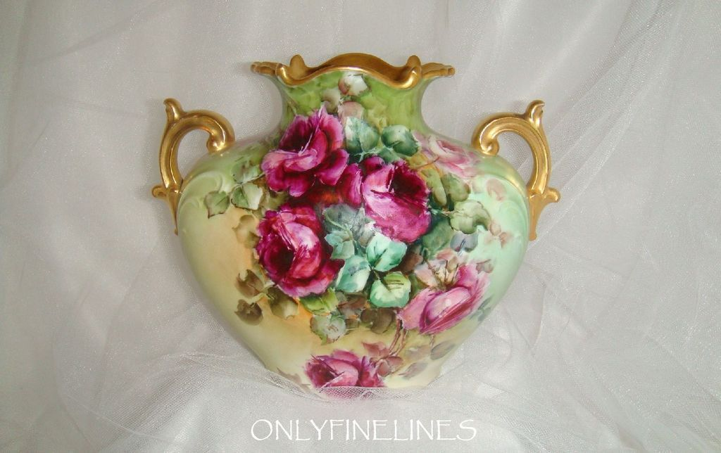 Stunning - Limoges - France - Pillow Vase - Hand Painted - Romantic Bouquets - Crimson Tea Roses - Coin Gold Handles - Pristine - Only Fine Lines