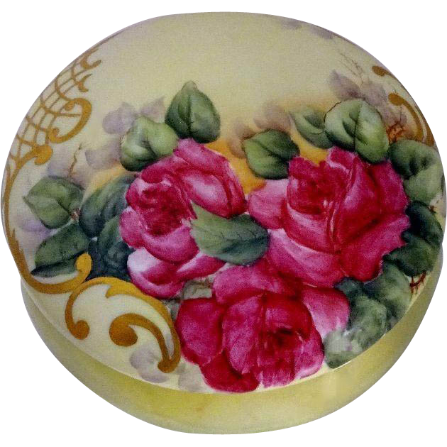 French Antique Limoges Large Powder Box Hand Painted Roses
