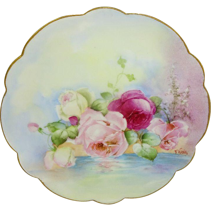 Antique French Limoges Plate Hand Painted Reflecting Pink Roses Artist Signed F. Weide