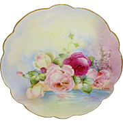 French Limoges Plate Hand Painted Reflecting Roses Artist Signed