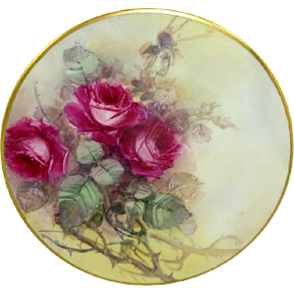 Limoges France Plate Hand Painted Tea Roses Signed Mint Hood