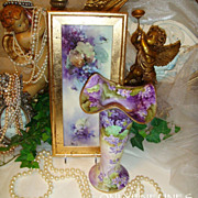 Hand Painted - Vase - Romantic Purple VIOLETS - GOLD Accents - Artist SIGNED