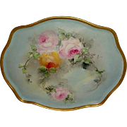 "French Antique Limoges France 16"" Tray Hand Painted Roses"
