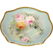 Vintage French Limoges Tray with Hand Painted Roses