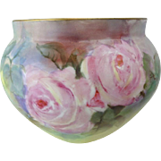 Antique French Limoges France Jardiniere Hand Painted Pink Roses