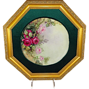 Framed French Limoges Plate Hand Painted Pink Tea Roses