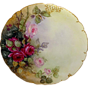 Vintage French Limoges Plate Hand Painted Romantic ROSES Artist Signed